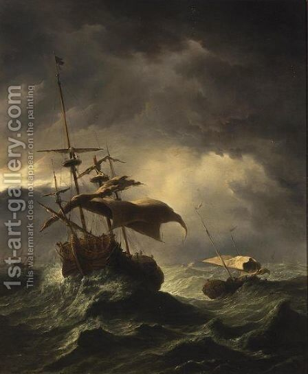 An English Frigate And Other Shipping In Stormy Seas by (after) Willem Van De, The Younger Velde - Reproduction Oil Painting