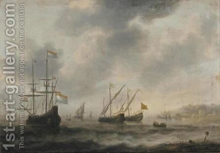 The Dutch Flagship De Roode Leeuw And Two English Vessels Together With Other Shipping by Jacob Adriaensz. Bellevois - Reproduction Oil Painting