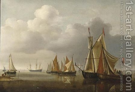 Ships On A Calm Sea Near The Coast by (after) Hendrick Dubbels - Reproduction Oil Painting