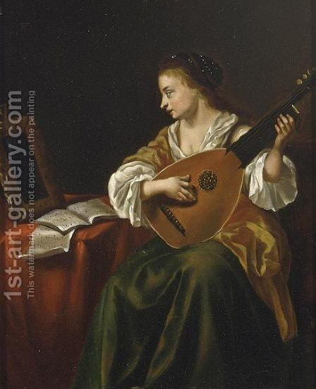 A Lady With A Viola Da Gamba In An Interior by Dutch School - Reproduction Oil Painting