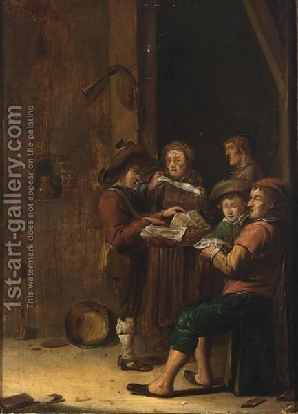 Five Figures In A Barn Interior Singing by (after) Benjamin Gerritsz. Cuyp - Reproduction Oil Painting