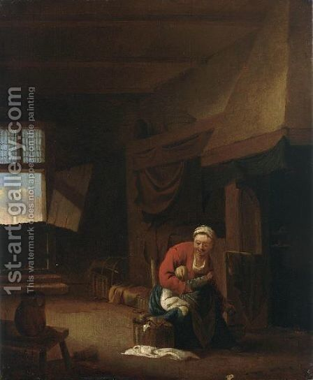An Interior With A Mother Feeding Her Child by Jan Olis - Reproduction Oil Painting