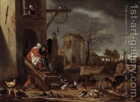 A Farmyard With The Parable Of The Prodigal Son by Cornelis Saftleven - Reproduction Oil Painting