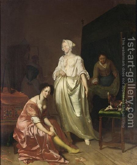 An Interior With Two Elegant Ladies Making Their Toilet Together With A Maid Making The Bed And A Dog On A Chair by (after) Jacob Ochtervelt - Reproduction Oil Painting