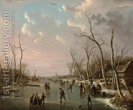 An Extensive Winter Landscape With Skaters On A Frozen River, A View Of A Town Beyond by Andries Vermeulen - Reproduction Oil Painting
