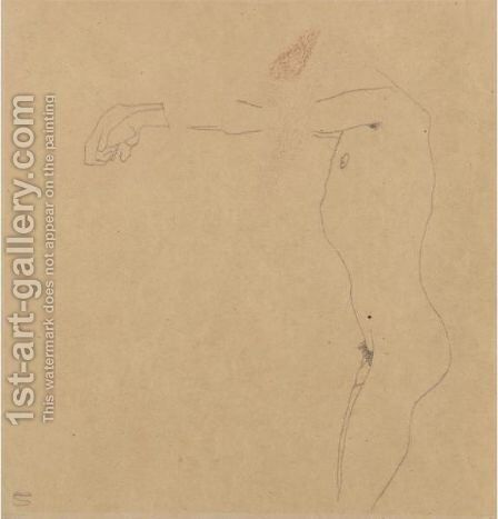 Mannlicher Akt Mit Nach Links Ausgestrecktem Armen (Male Nude With Outstreched Arms) by Egon Schiele - Reproduction Oil Painting