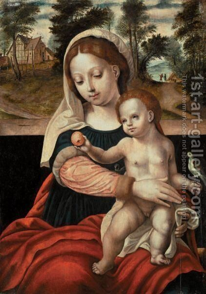 The Virgin And Child With A Parrot by - Unknown Painter - Reproduction Oil Painting