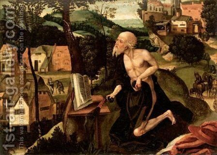 The Penitent Saint Jerome In A Landscape by (after) Lucas Gassel - Reproduction Oil Painting
