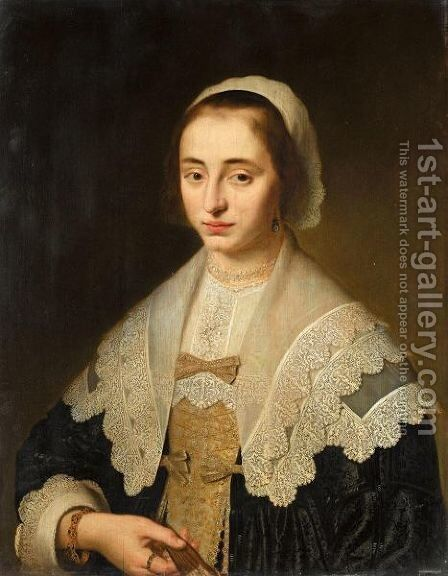 Portrait Of A Lady, Half Length, Wearing Black, With A White Lace Collar And Headress, Holding A Fan by Dutch School - Reproduction Oil Painting