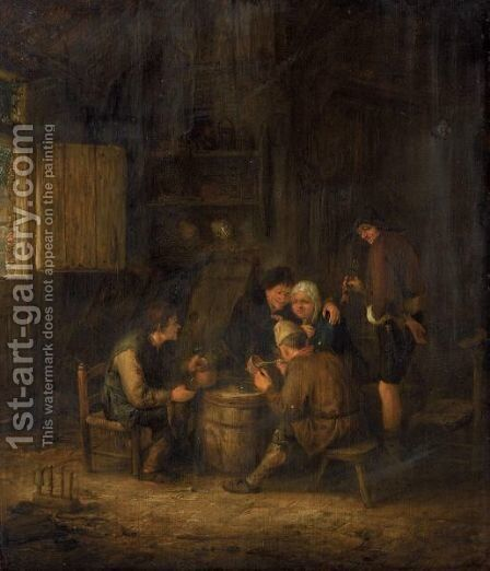 An Interior With Peasants Huddled Around A Cask, Smoking And Drinking by (after) Adriaen Jansz. Van Ostade - Reproduction Oil Painting