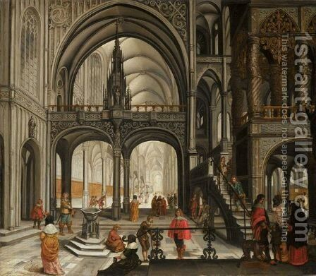 An Elegant Company In A Church Interior by Abraham Van Gerwen - Reproduction Oil Painting