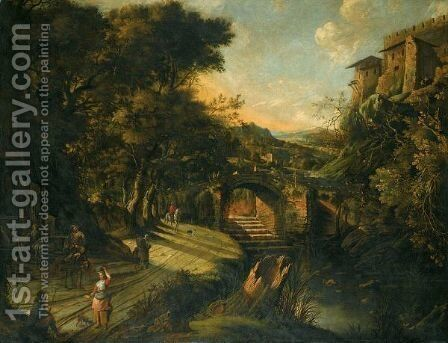An Italianate River Landscape, With Figures On A Road Beside A Fountain, A Bridge Beyond by Jan Siberechts - Reproduction Oil Painting