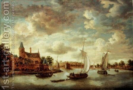 A River Landscape With Barges Passing A Chateau by Jan Abrahamsz. Beerstraten - Reproduction Oil Painting