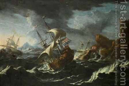 A Stormy Seascape With Shipping Off A Rocky Coast by (after) Mattthieu Van Plattenberg - Reproduction Oil Painting