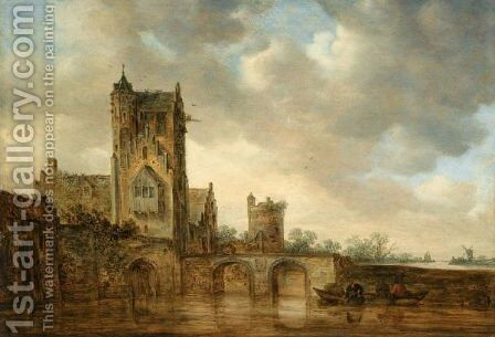 A Large House With A Tower, At The Edge Of A River Crossed By A Two-Arched Stone Bridge, Three Men In A Rowing Boat Below by Jan van Goyen - Reproduction Oil Painting