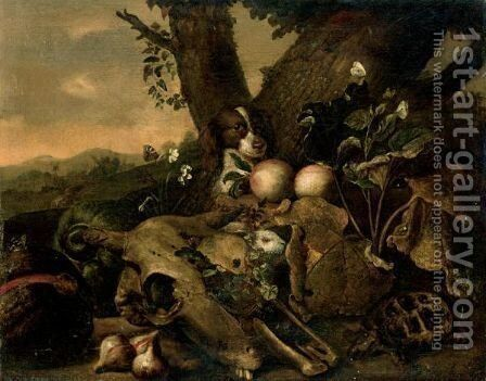Landscape With A Spaniel, A Rabbit, A Tortoise And Fruit Beside An Animal Skull by Dutch School - Reproduction Oil Painting