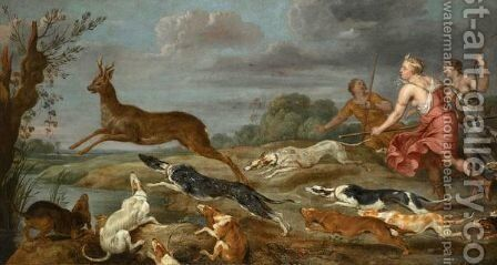 Diana And Her Nymphs Hunting Deer by (after) Paul De Vos - Reproduction Oil Painting