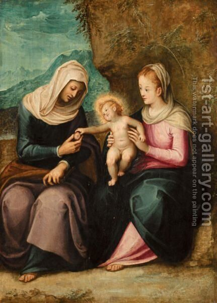 The Madonna And Child With Saint Anne In A Landscape by Guglielmo Caccia - Reproduction Oil Painting