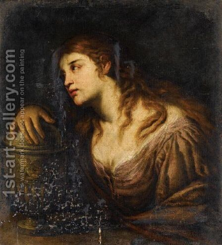 The Penitent Magdalene by Andrea Vaccaro - Reproduction Oil Painting