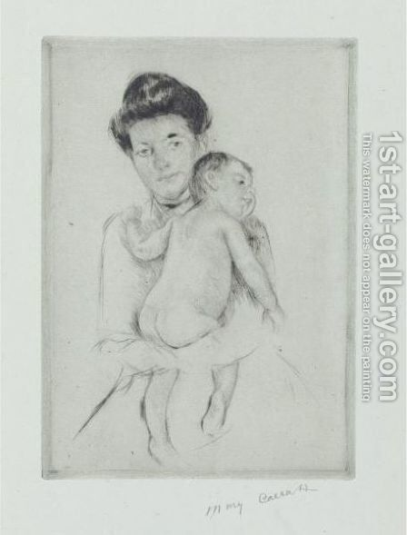 Mother Holding Nude Baby by Mary Cassatt - Reproduction Oil Painting