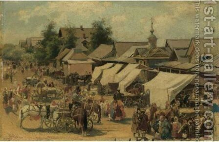 Village Market by Andrei Petrovich Riabushkin - Reproduction Oil Painting