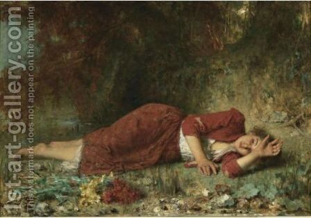 Peasant Girl Reclining by Alexei Alexeivich Harlamoff - Reproduction Oil Painting