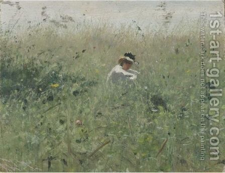 Woman In The Grass by Ivan Pavlovich Pokhitonov - Reproduction Oil Painting