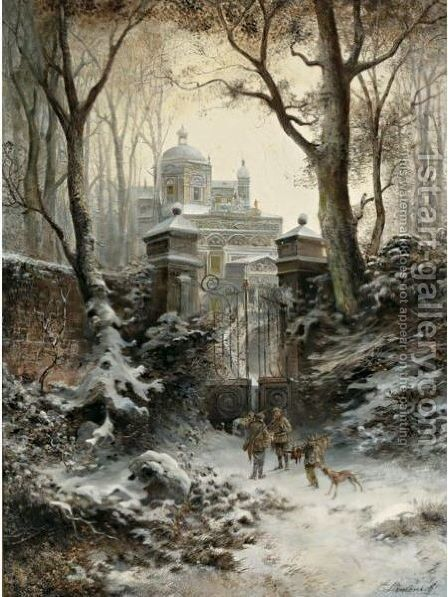 Hunters Returning To Their Palace In Winter by E. Lermontoff - Reproduction Oil Painting