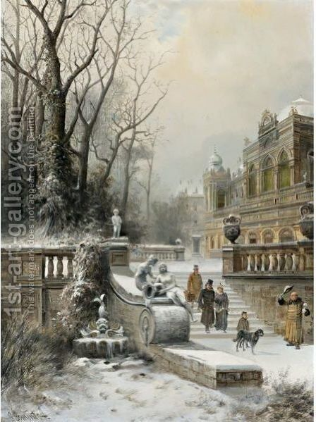 A Noble Family Leaving Their Palace In Winter by E. Lermontoff - Reproduction Oil Painting