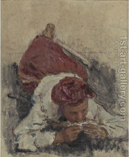 Lying Figure by Ilya Efimovich Efimovich Repin - Reproduction Oil Painting