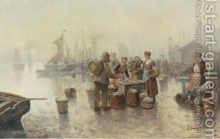 The Fishmarket by Adolf Baumgartner-Stoiloff - Reproduction Oil Painting