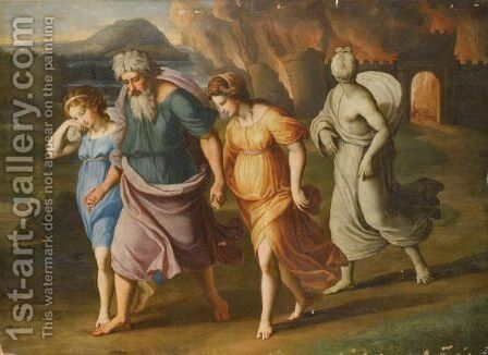 Lot And His Daughters Fleeing The Destruction Of Sodom And Gomorrah by (after) Raphael (Raffaello Sanzio of Urbino) - Reproduction Oil Painting