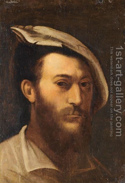 Portrait Of A Gentleman, Head And Shoulders, Wearing A Hat by Michele Da Parma (see Rocca) - Reproduction Oil Painting