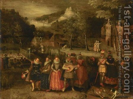 Elegant Figures Promenading And Conversing In A Parkland Setting by (after) Louis De Caullery - Reproduction Oil Painting