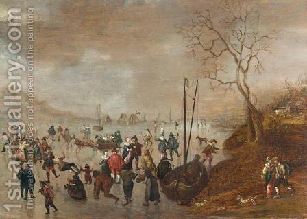 A Winter Landscape With Figures Skating On A Frozen River by (after) Anthonie Verstraelen - Reproduction Oil Painting