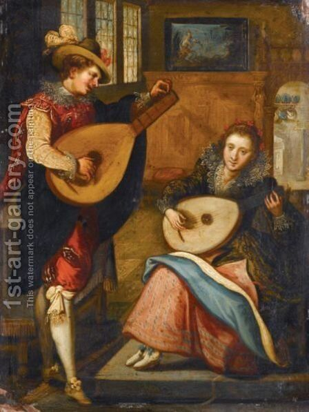 An Elegant Interior With A Lady And A Gentleman Playing Lutes by (after) Louis De Caullery - Reproduction Oil Painting
