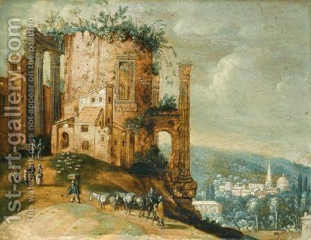 An Italianate Landscape With A Capriccio Of The Temple Of Vesta, Tivoli by (after) Willem Van, The Younger Nieulandt - Reproduction Oil Painting