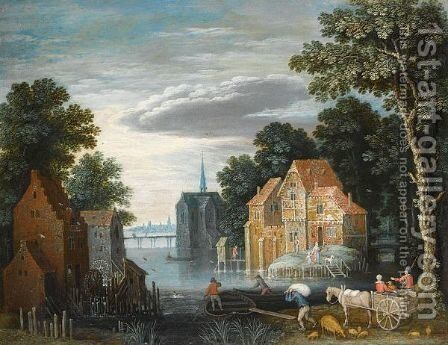 A River Landscape With A Watermill by (after) Marten Ryckaert - Reproduction Oil Painting