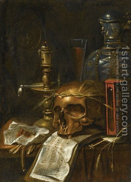 A Vanitas Still Life With A Candle, A Skull, An Hourglass, A Flagon And A Glass, On A Wooden Table by (after) Sebastiaen Bonnecroye - Reproduction Oil Painting