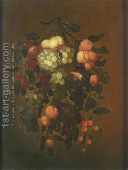 Still Life With Apricots, Grapes, Plums, Cherries, Figs, Raspberries And Oranges Hanging From A Nail by J. Bourginon - Reproduction Oil Painting