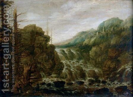 A Mountainous Wooded Landscape With A Man Resting Beside A Cascade, A Hill Top Town In The Distance by (after) Joachim Govertsz. Camphuysen - Reproduction Oil Painting
