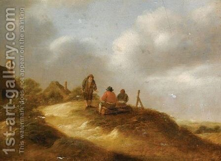 A Dune Landscape With Three Boors Conversing Before A Hamlet by Claes Molenaar (see Molenaer) - Reproduction Oil Painting