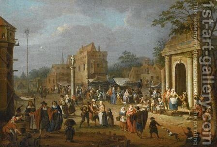 A Busy Market Scene Amongst Classical Ruins by (after) Pieter Van Bredael - Reproduction Oil Painting