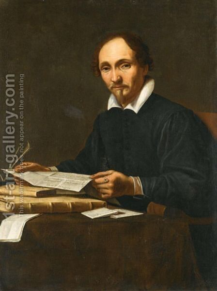 Portrait Of A Gentleman, Half Length, Seated At A Table Holding A Letter by Italian School - Reproduction Oil Painting