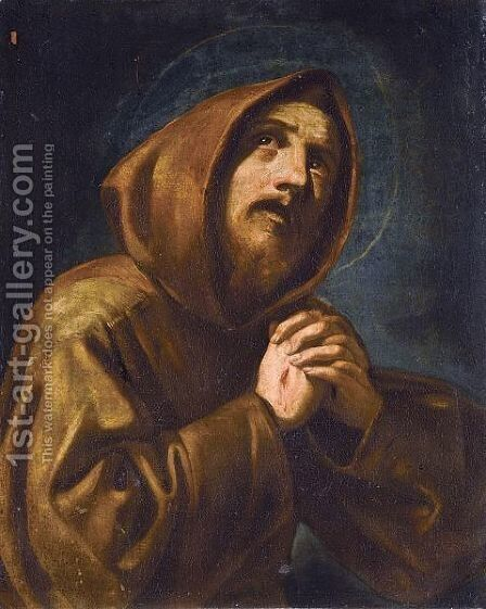 Saint Francis At Prayer by (after) Mattia Preti - Reproduction Oil Painting