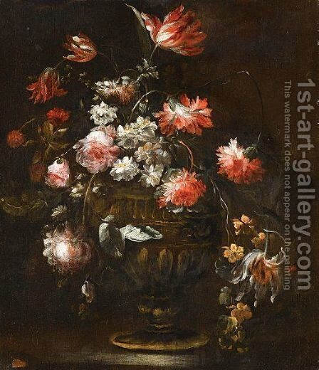 Still Life With Roses, Tulips And Various Other Flowers In A Bronze Vase by (after) Margherita Caffi - Reproduction Oil Painting