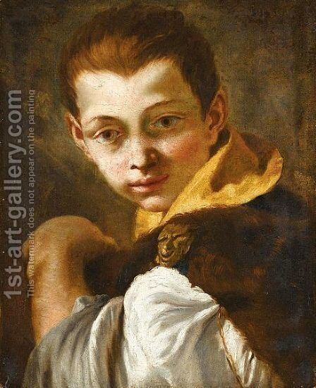 A Study Of A Young Boy, Head And Shoulders, Wearing A Furlined Cloak, With A Satyr's Head Clasp, And Holding A Book by (after) Giovanni Battista Tiepolo - Reproduction Oil Painting