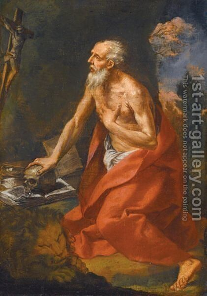 Saint Jerome In The Wilderness by Emilian School - Reproduction Oil Painting