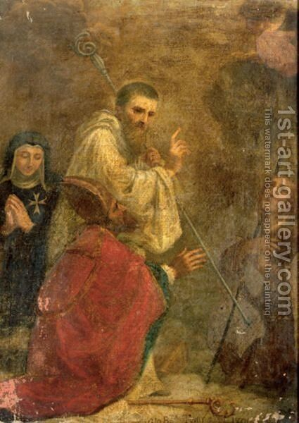 A Religious Scene With Four Saints by Giovanni Baptista Tempesti - Reproduction Oil Painting