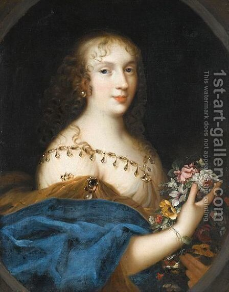 Portrait Of A Young Lady, Half Length, Holding A Bunch Flowers by (after) Louis Ferdinand (the Elder) Elle - Reproduction Oil Painting
